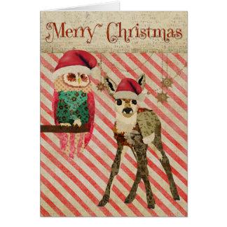 Tarjeta de Navidad floral del cervatillo y del búh