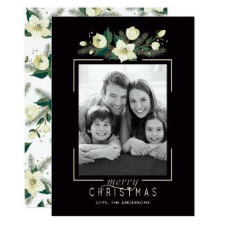 Tarjeta de Navidad floral y del pino de la foto
