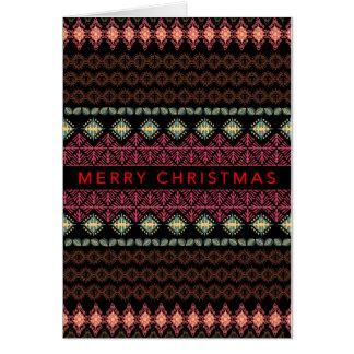 Tarjeta de Navidad Folksy nórdica de la frontera