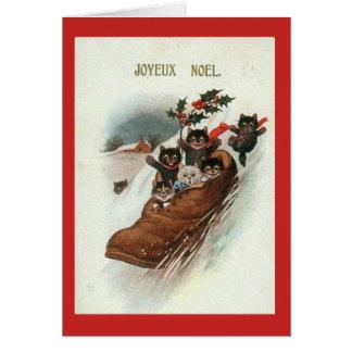 Tarjeta de Navidad francesa de los gatos del