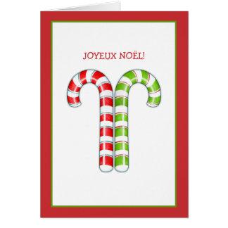 Tarjeta de Navidad francesa verde roja de los bast