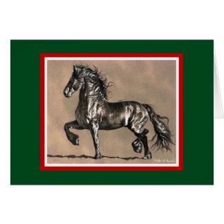 Tarjeta de Navidad frisia del caballo
