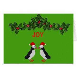 Tarjeta de Navidad gemela de los frailecillos de
