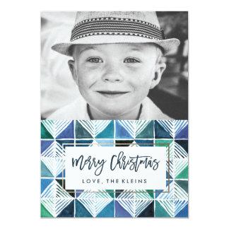 Tarjeta de Navidad geométrica de la foto de la Invitación 12,7 X 17,8 Cm