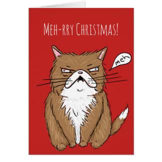 Tarjeta de Navidad gruñona divertida del gato del
