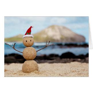 Tarjeta de Navidad hawaiana del muñeco de nieve