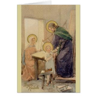 Tarjeta de Navidad italiana religiosa del vintage