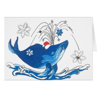 Tarjeta de Navidad linda de la ballena jorobada de