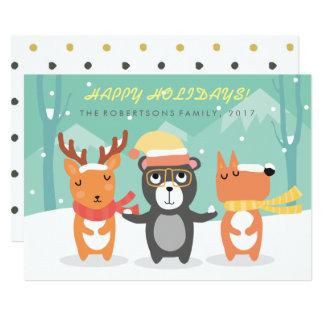 Tarjeta de Navidad linda de los caracteres del Invitación 12,7 X 17,8 Cm
