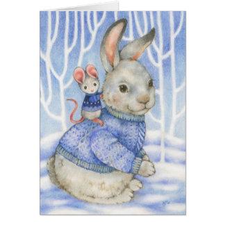 Tarjeta de Navidad linda del conejo y del ratón de
