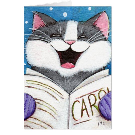 Tarjeta de Navidad linda del gato del canto del