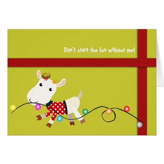 Tarjeta de Navidad linda (niño) de la cabra -
