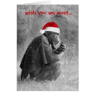 """¡Tarjeta de Navidad linda """"Yoda-como"""" chimpancé! Tarjeta De Felicitación"""