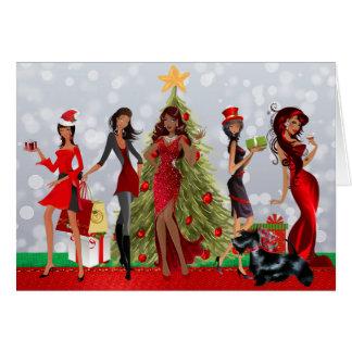 Tarjeta de Navidad moderna afroamericana