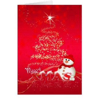Tarjeta de Navidad moderna con el muñeco de nieve