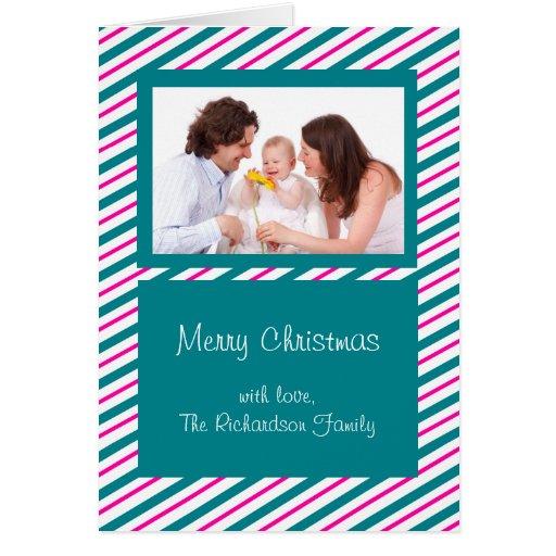 Tarjeta de Navidad moderna de encargo de las rayas