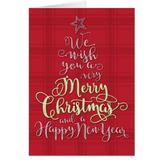 Tarjeta de Navidad moderna de la tela escocesa y