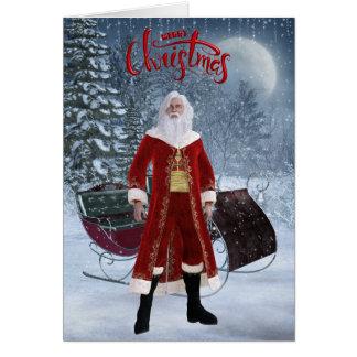 Tarjeta de Navidad moderna de Santa y del trineo