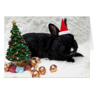 Tarjeta de Navidad negra del conejito