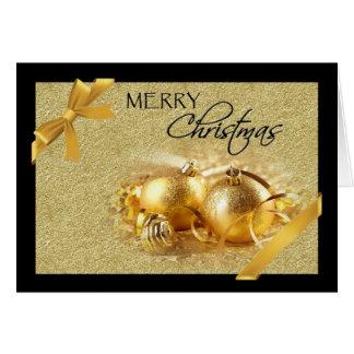Tarjeta de Navidad negra del ornamento del oro
