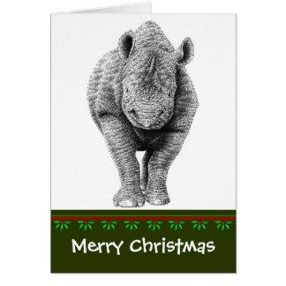 Tarjeta de Navidad negra del rinoceronte