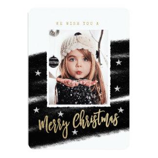 Tarjeta de Navidad negra y blanca elegante de la