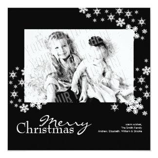 Tarjeta de Navidad negra y blanca moderna con Invitación 13,3 Cm X 13,3cm