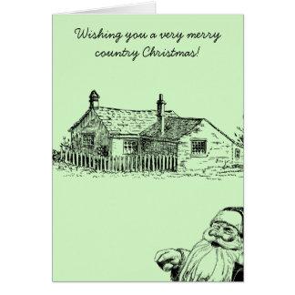 Tarjeta de Navidad nostálgica de Santa del país
