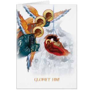 Tarjeta de Navidad ortodoxa rusa con el icono de