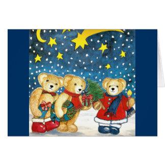 """Tarjeta de navidad """"osito de peluche con regalos """""""