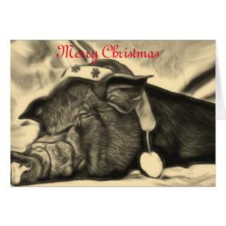 Tarjeta de Navidad pacífica del cerdo
