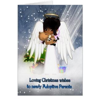 Tarjeta de Navidad para los padres nuevamente adop