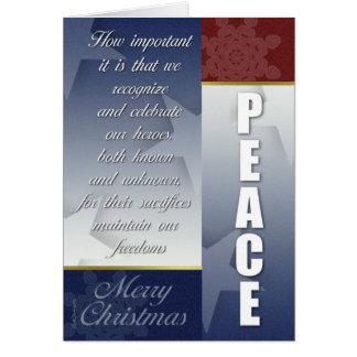 Tarjeta de Navidad patriótica con los copos de