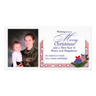 Tarjeta de Navidad patriótica de la foto