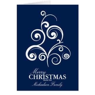 Tarjeta de Navidad personalizada árbol de Swirly