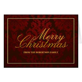 Tarjeta de Navidad personalizada damasco rojo