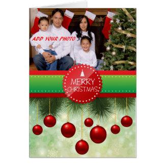 Tarjeta de Navidad personalizada de la foto - rojo