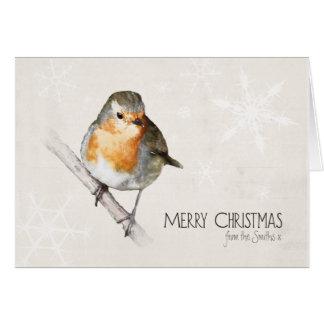 Tarjeta de Navidad personalizada del petirrojo