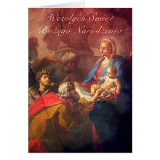 Tarjeta de Navidad polaca/inglesa - adoración