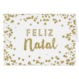 Tarjeta de Navidad portuguesa del confeti del oro