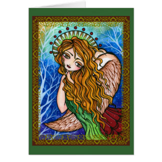 Tarjeta de Navidad primitiva del ángel de la