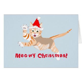 Tarjeta de Navidad que ofrece un gatito festivo