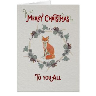Tarjeta de Navidad que ofrece un zorro