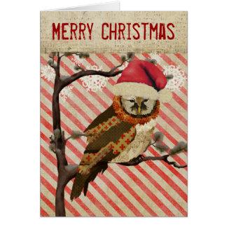 Tarjeta de Navidad rayada del búho de las momias