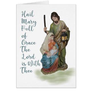 Tarjeta de Navidad religiosa con Maria, José y el