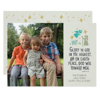 Tarjeta de Navidad religiosa de la foto con verso Invitación 12,7 X 17,8 Cm