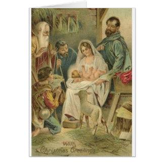 Tarjeta de Navidad religiosa de la natividad del v
