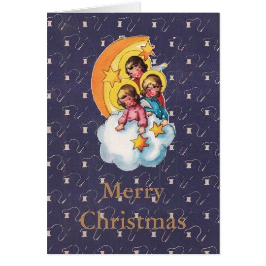 Tarjeta de Navidad retra angelical