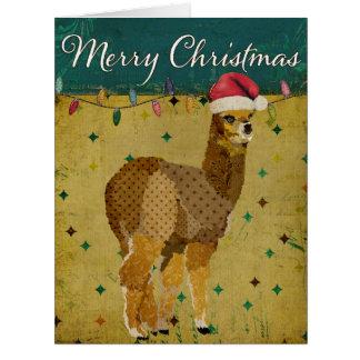Tarjeta de Navidad retra de la alpaca del oro