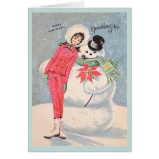 Tarjeta de Navidad retra de la nieta